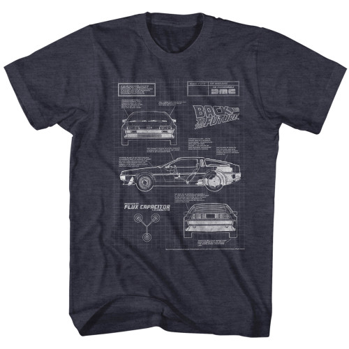 Image for Back to the Future T-Shirt - Delorean Blueprint