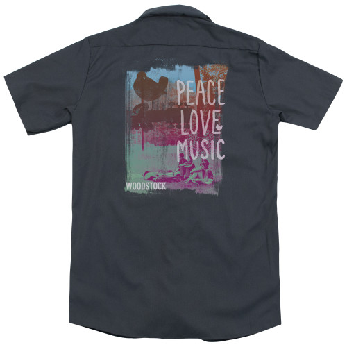 Image for Woodstock Dickies Work Shirt - Peace Love Music