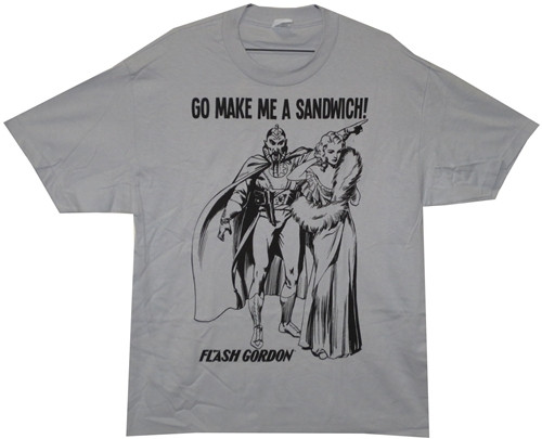 Image Closeup for Flash Gordon Ming the Merciless Go Make Me a Sandwich T-Shirt
