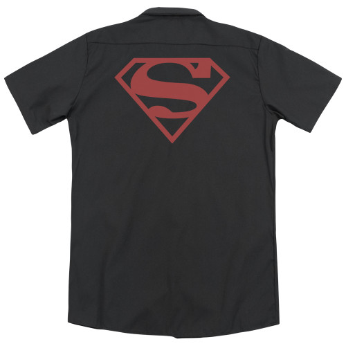 Image for Superman Dickies Work Shirt - Red On Black Shield