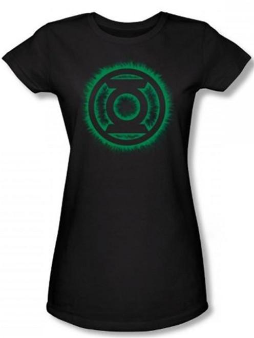 Image for Green Lantern Green Flame Logo Girls Shirt