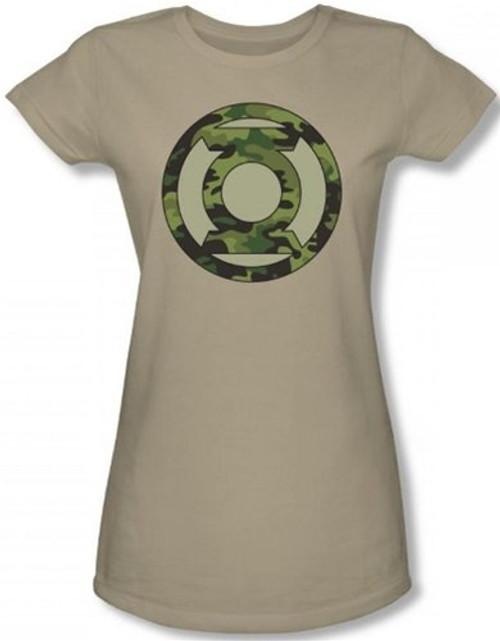 Image for Green Lantern Camo Logo Girls Shirt