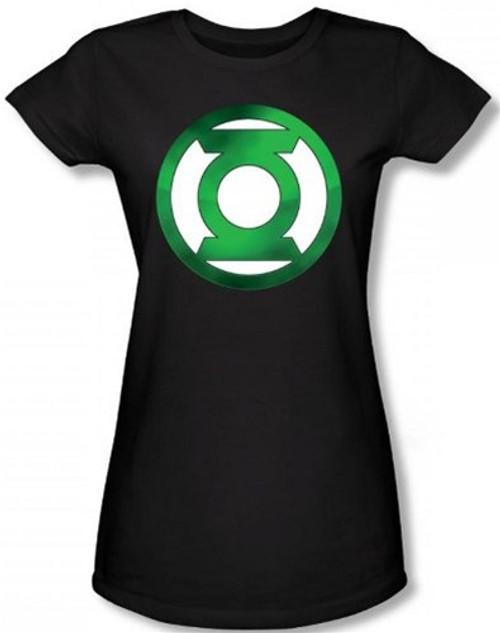 Image for Green Lantern Green Hot Rod Logo Girls Shirt