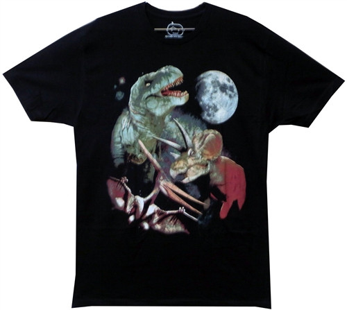 Image Closeup for 3 Dino Moon T-Shirt