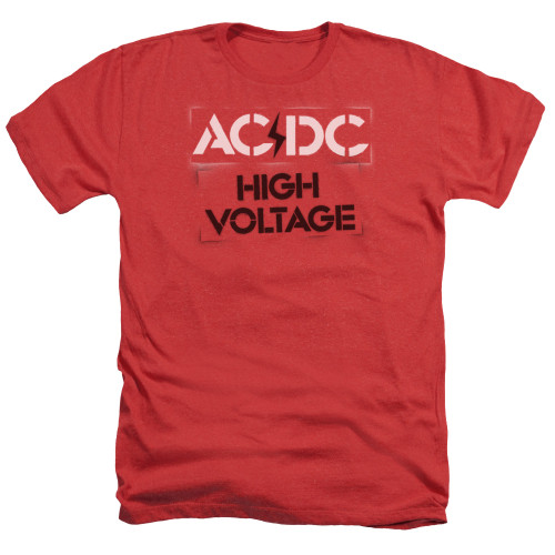 Image for AC/DC Heather T-Shirt - High Voltage Stencil