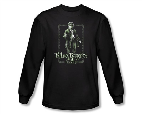 Image Closeup for The Hobbit Bilbo Stare long sleeve T-Shirt