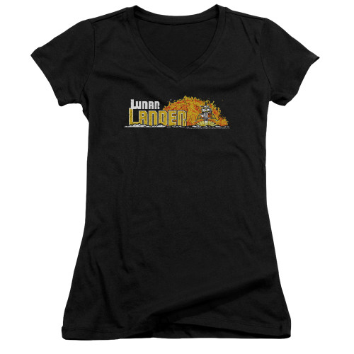 Image for Atari Girls V Neck T-Shirt - Lunar Lander Marquee