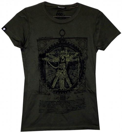 Image Closeup for Vitruvian Steam Punk girl's T-Shirt