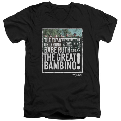 Image for The Sandlot V Neck T-Shirt - the Great Bambino