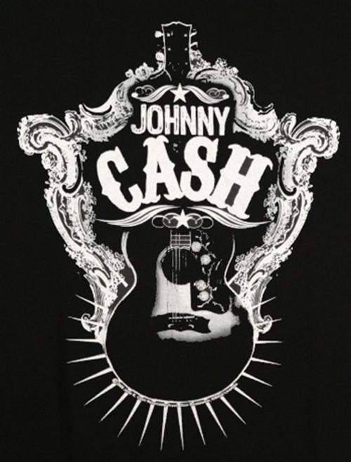 Image for Johnny Cash Guitar Shield T-Shirt