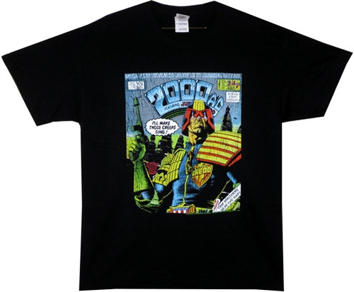 Image Closeup for Judge Dredd I'll Make Those Creeps Sing T-Shirt