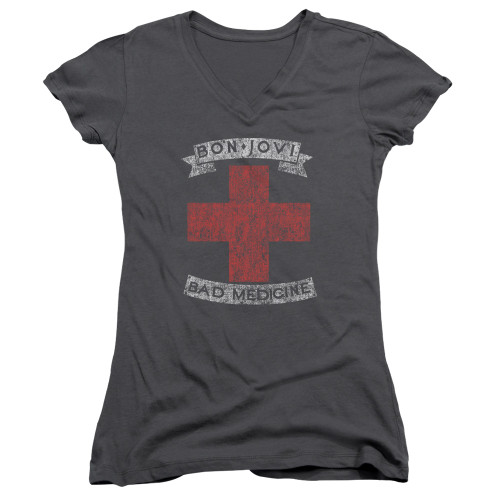 Image for Bon Jovi Girls V Neck - Bad Medicine