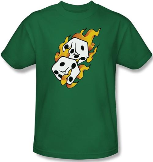 Leadership 2 Flaming Dice Kelly Green T-Shirt