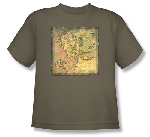 Image for Lord of the Rings Youth T-Shirt -Middle Earth Map