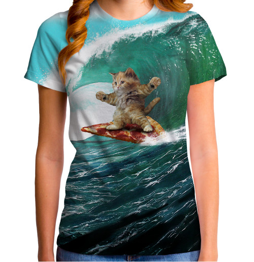 Image for Surfs Up Pizza Cat Sublimated Juniors T-Shirt