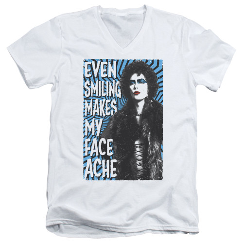 Image for Rocky Horror Picture Show V Neck T-Shirt - Even Smiling Makes My Face Ache