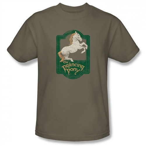 Image Closeup for Lord of the Rings the Prancing Pony Sign T-Shirt