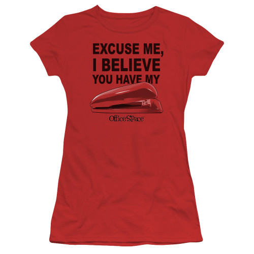 Image for Office Space Girls T-Shirt - Excuse Me, I Believe You Have My Stapler
