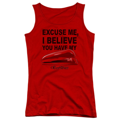 Image for Office Space Girls Tank Top - Excuse Me, I Believe You Have My Stapler