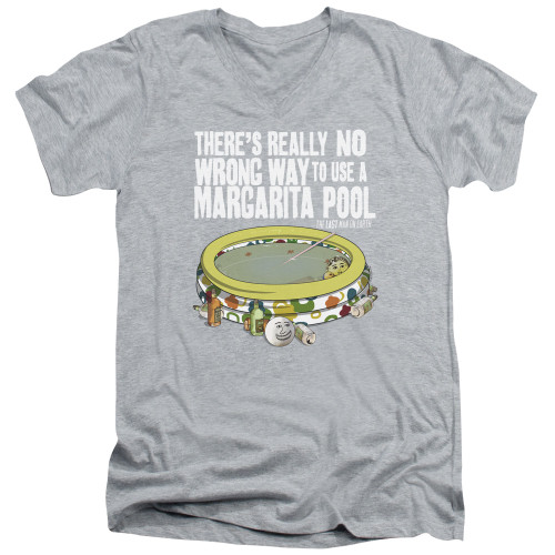 Image for Last Man on Earth V Neck T-Shirt - There's No Wrong Way to Use a Margarita Pool