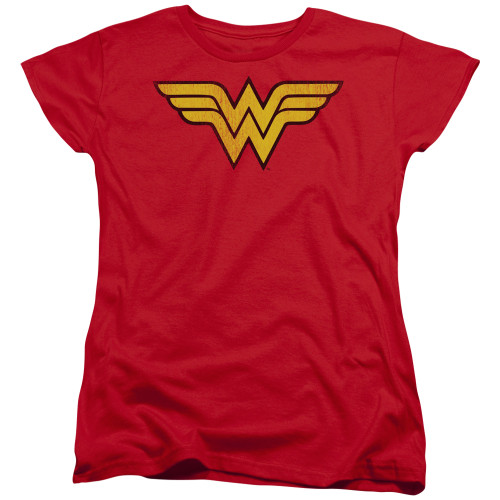 Image for Wonder Woman Womans T-Shirt - Classic Distressed Logo
