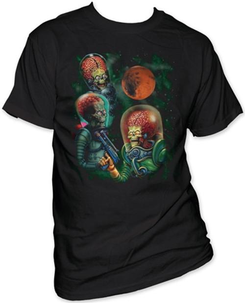 Image Closeup for Mars Attacks! Three Martians Moon T-Shirt