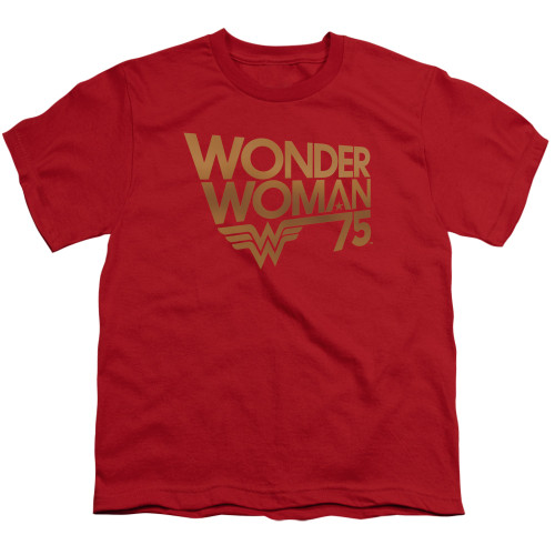 Image for Wonder Woman Youth T-Shirt - 75th Anniversary Gold Logo