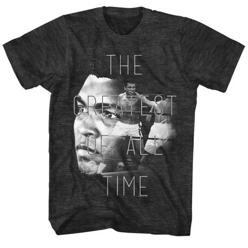 Image for Muhammad Ali Heather T-Shirt - Greatest Over Face