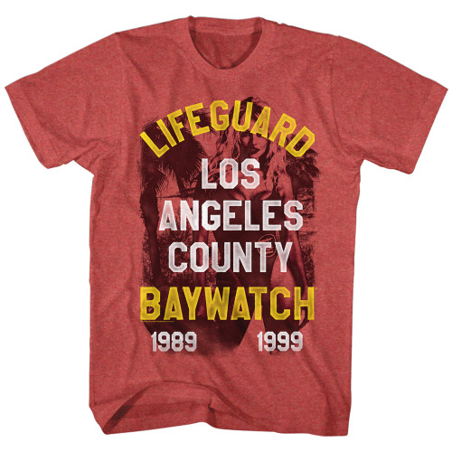 Image for Baywatch Heather T-Shirt - Los Angeles County Lifeguard