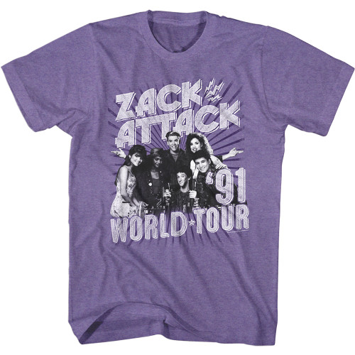 Image for Saved by the Bell Heather T-Shirt - Zack Attack '91 Tour