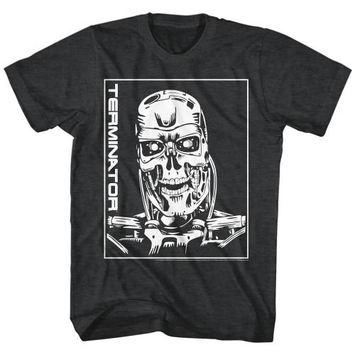 Image for Terminator Heather T-Shirt - Machine Skull