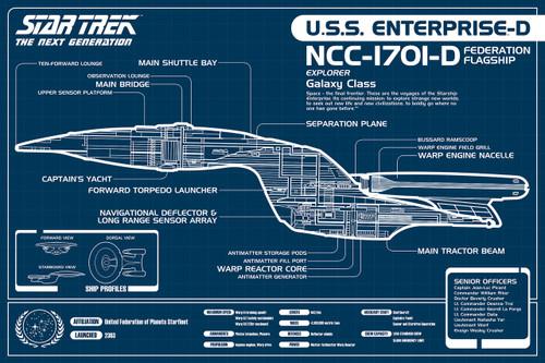 Image for Star Trek Poster - TNG Enterprise Blueprint