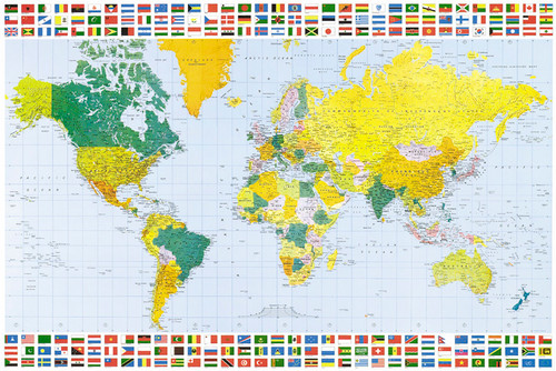 Image for World Map with Flags Poster