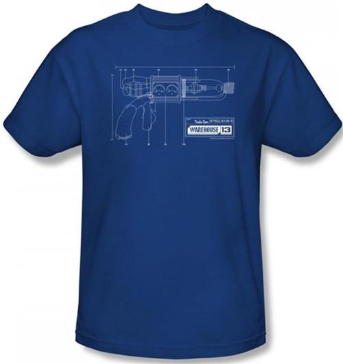Image for Warehouse 13 Tesla Gun Blueprints T-Shirt