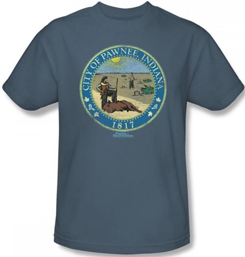 Image Closeup for Parks & Rec Distressed Pawnee Seal T-Shirt