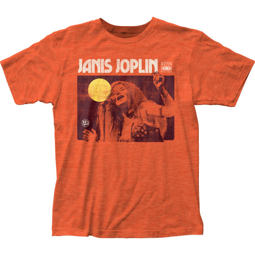 Image for Janis Joplin Singing Heather T-Shirt