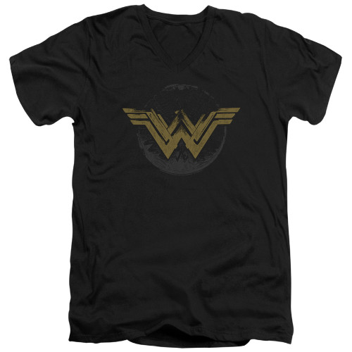 Image for Wonder Woman Movie V Neck T-Shirt - Distressed Logo