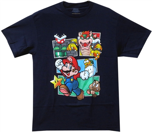 Image Closeup for Mario Panels T-Shirt