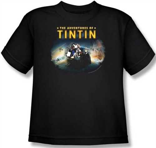 Image for The Adventures of Tintin Youth T-Shirt - Journey
