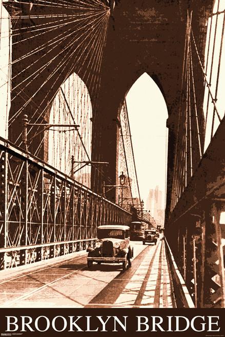 Image for Brooklyn Bridge Poster - Vintage