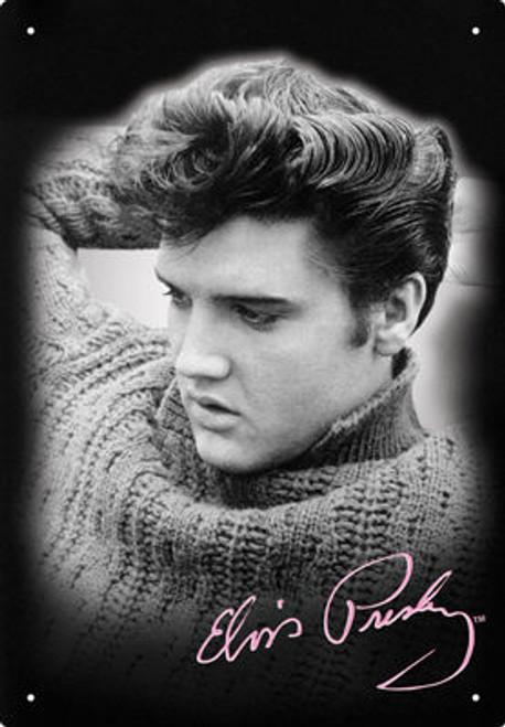 Image for Elvis Tin Sign - Black & White