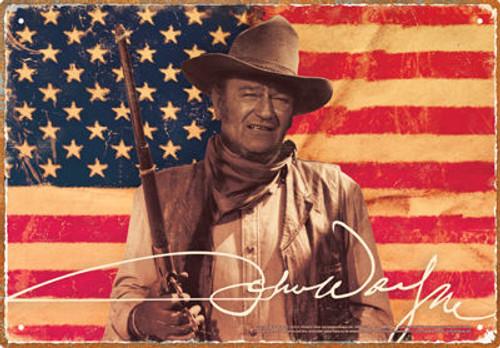 Image for John Wayne Tin Sign - Flag