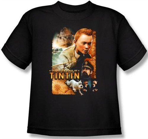 Image for The Adventures of Tintin Youth T-Shirt - Poster PAR169-YT
