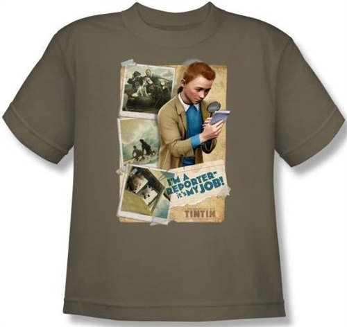 Image for The Adventures of Tintin Youth T-Shirt - I'm a Reporter