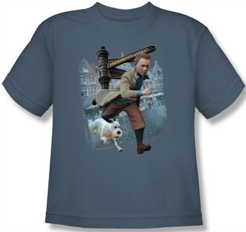 Image for The Adventures of Tintin Youth T-Shirt - Labrador Street