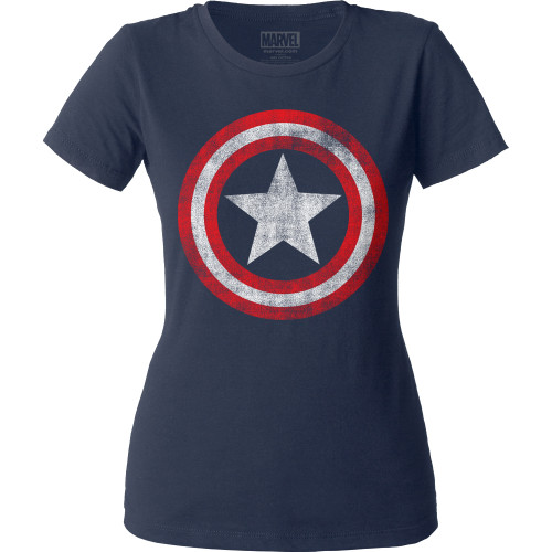 Image for Captain America Distressed Shield Juniors Crew Neck Shirt