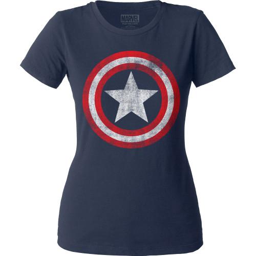 Image for Captain America Distressed Shield Juniors Crew Neck Shirt