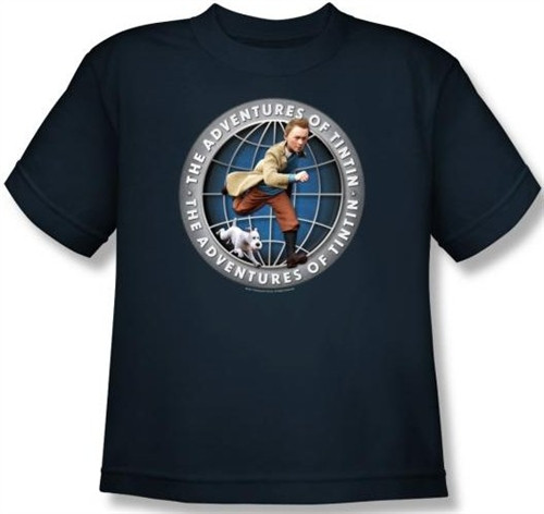 Image for The Adventures of Tintin Youth T-Shirt - Globe