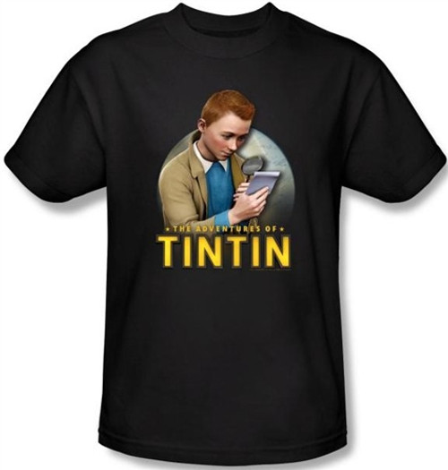 Image Closeup for The Adventures of Tintin Looking for Answers T-Shirt