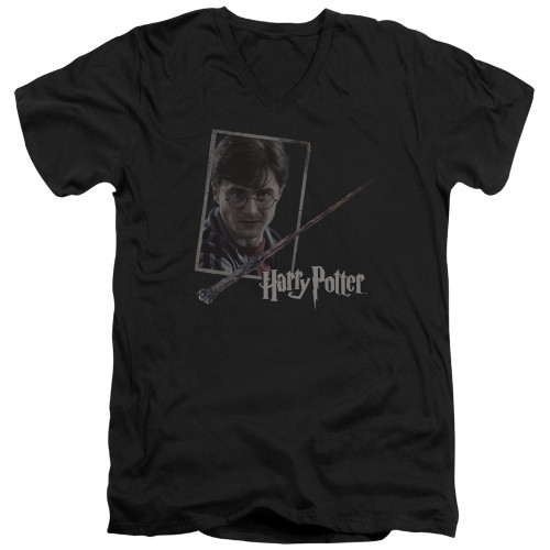 Image for Harry Potter V Neck T-Shirt - Harry's Wand Portrait